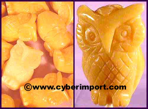Yellow Jade Gemstone Beads Owl