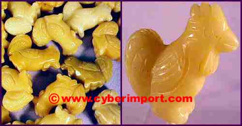 Yellow Jade Gemstone Beads Rooster
