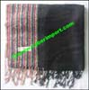 Striped Synthetic Cotton Blend Scarf